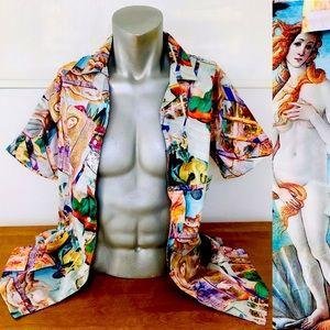NWT BOTTICELLI Wearable ART Satin SHIRT Medium
